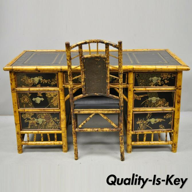 19th Century Chinoiserie English Bamboo Leather Top Lacquered Desk and Chair