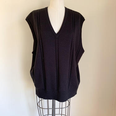 Vintage 1990s Black Wool Sweater Vest / men's XL by MsTips