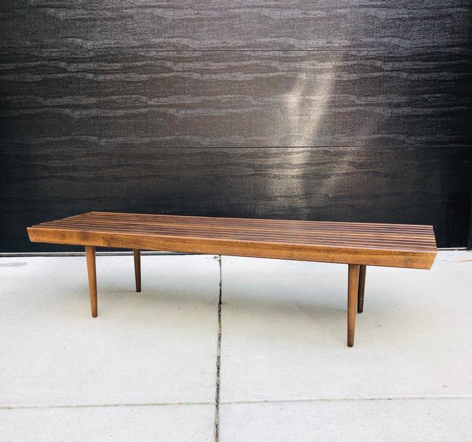 Vintage Walnut Slat Bench by BentwoodVintage