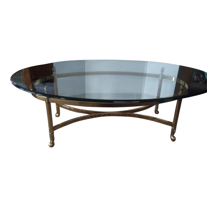 COFFEE TABLE, Mid Century Modern, Brass and Glass, LeBarge Style by 3GirlsAntiques