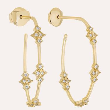 Glitter Hoops - Yellow Gold (Pair)