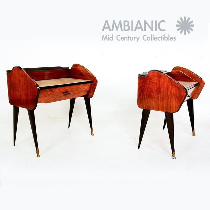 Fabulous Pair of Rosewood Nightstands Bronze Detail BedSide Tables Ico Parisi by AMBIANIC