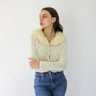 Vintage 90s DKNY Cream Knit Cropped Cardigan with Mink Fur Collar | Removable collar | 1990s Donna Karen Natural Knit with REAL Fur Collar by TheVault1969