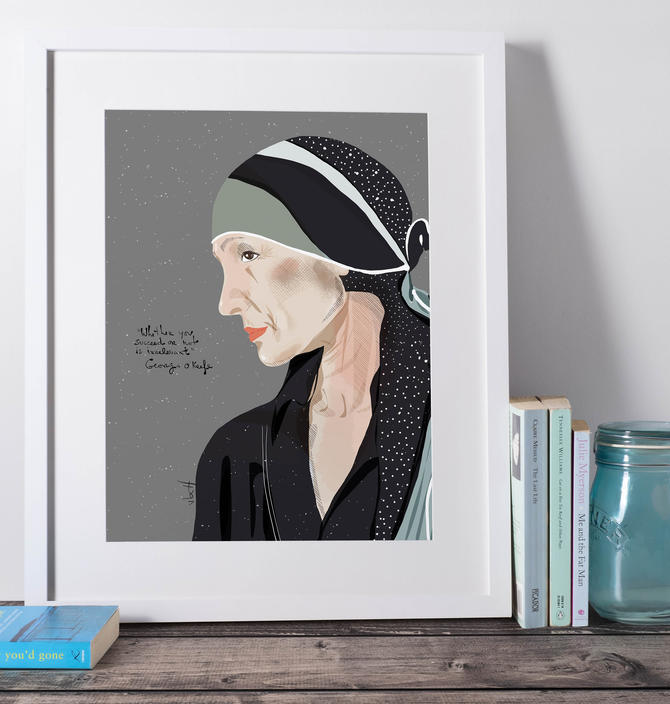 Georgia O'keefe Portrait Art Print Cubicle Decor  Office Art - Home Decor-  Art Lover by VioletredStudio