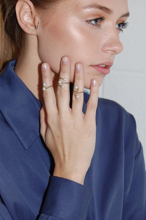 Set of Three Bronze Spiral Midi Rings with Pearls