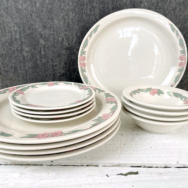 Syracuse China floral restaurant ware china for 4 - 1980s vintage by NextStageVintage
