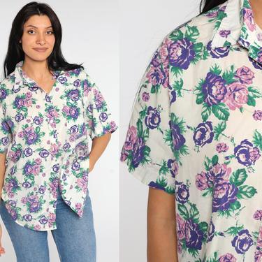 White Floral Blouse 80s Button Up Purple Rose Shirt Short Sleeve Top Cap Sleeve Romantic Boho 1980s Vintage Bohemian Plus Size 2xl xxl by ShopExile