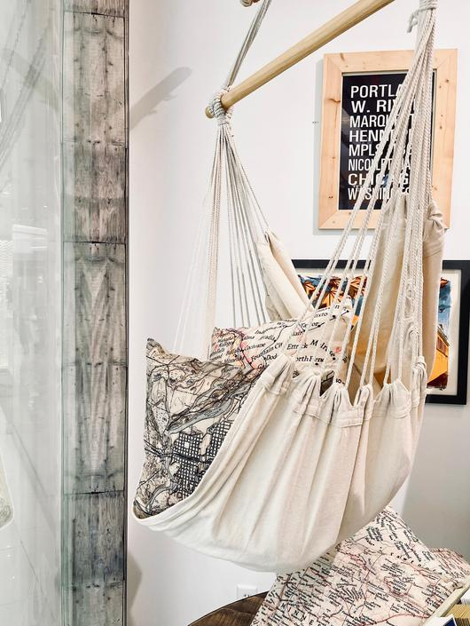 Large Cream Hammock Chair | Canvas Hanging Chair | Rope Swinging Chair | Porch Chair | Suspended Chair | Natural Hanging Chair | Egg Chair by PiccadillyPrairie