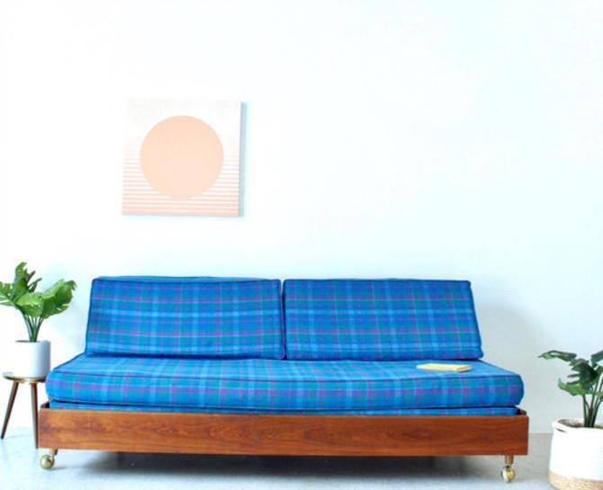 Mid Century Vintage Plaid Daybed Sofa