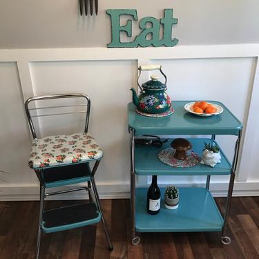 Costco Metal Cart Vintage Teal , serving cart vintage rolling  Newly painted vintage kitchen cart, coffee station by VintageCoreReStore