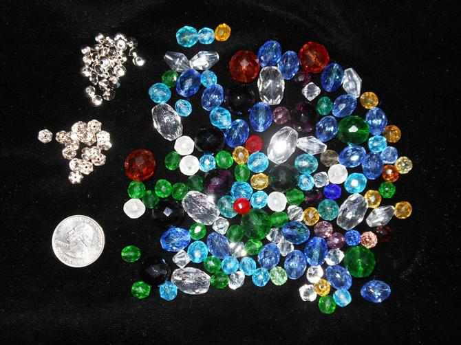 6 Oz. Assorted Faceted Czech Glass beads & 18 Rhinestone Rondell Spacers by AllMyItems