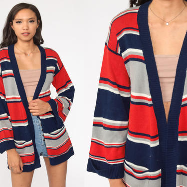 Striped Cardigan Sweater 70s Sweater Blue Red Boho Open Front Wrap Knit 1970s Vintage Retro Medium by ShopExile