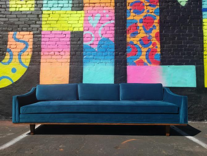 Mid Century Style Grey Sofa with Walnut Trim by TheHuntVintageLA