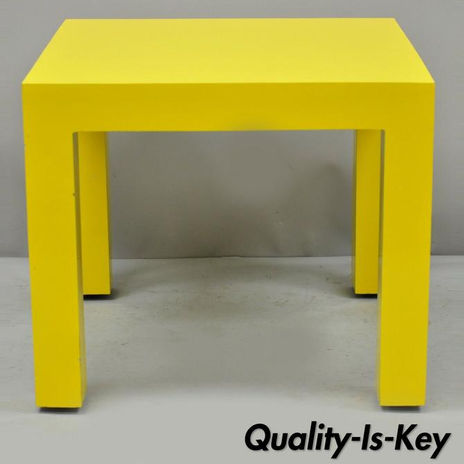 Thayer Coggin Milo Baughman Yellow Parsons Style Laminate Square Side End Table