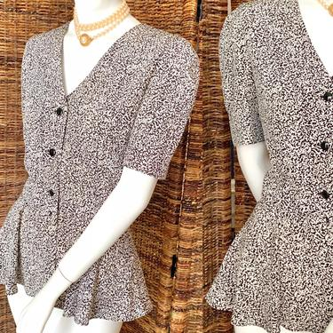 Vintage Peplum Top, Button Down Blouse, Deep V Neck, Polyester, Fits M-L by GabAboutVintage