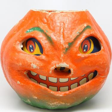 Large 7 Inch Vintage 1940's Halloween Smiling Jack-O-Lantern, made with Pulp Paper Mache, Antique, Retro jol, Orange with Green Accents by exploremag