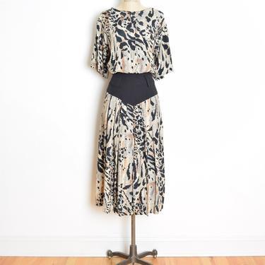 vintage 80s dress animal leopard print bloused full long midi dress L clothing large by huncamuncavintage