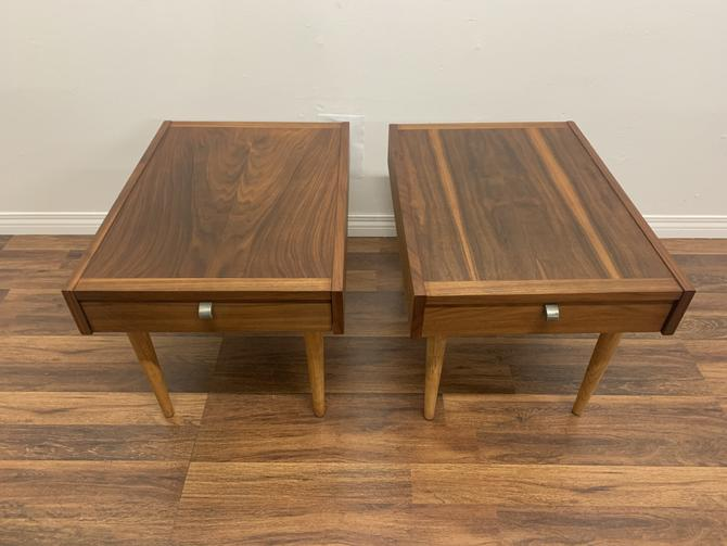 1960s Merton Gershun for American of Martinsville Walnut End Tables With Drawers