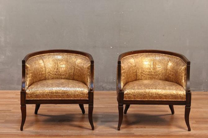Regency Gold Crocodile Vinyl Accent Chair