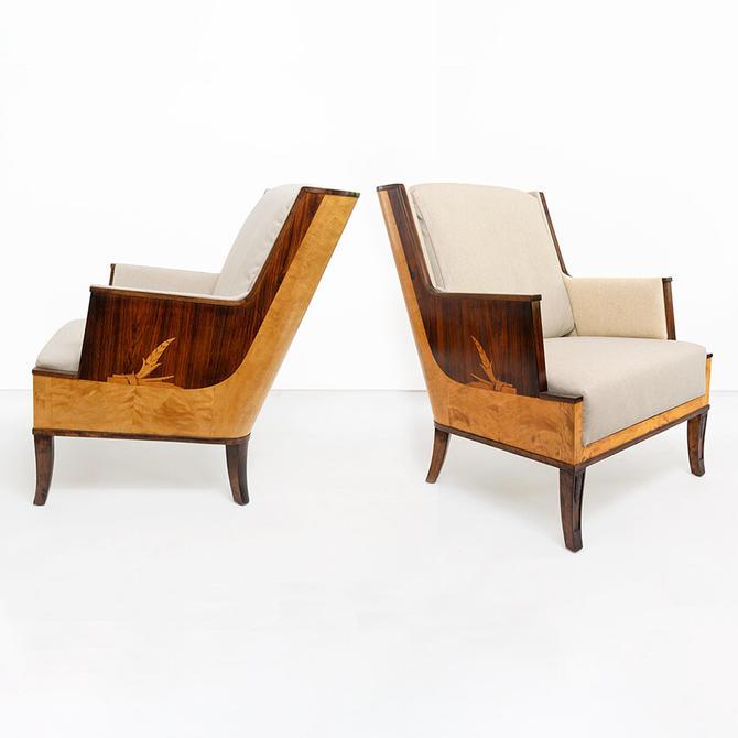 Erik Chambert armchairs with marquetry, Swedish Art Deco