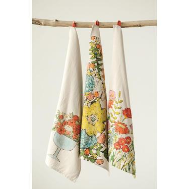Vintage Flower Tea Towel | French Farmhouse Tea Towel | Floral Tea Towel | Towel Gift | Flowers Kitchen Dish Towel | Kitchen Decor | Greige by PiccadillyPrairie