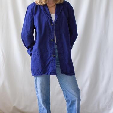 Vintage Navy Blue Chore Jacket   Unisex Dark Blue Cotton Utility Work Coat   Made in Italy   M L   IT030 by RAWSONSTUDIO