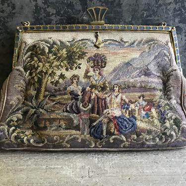 Antique Petit Point Purse, Double Sided Gentry Scenes, Enamel Jeweled Frame, Handbag, Evening Clutch, KH by JansVintageStuff