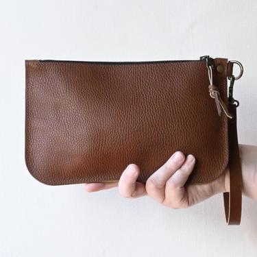 Leather Zipper Clutch, Cognac