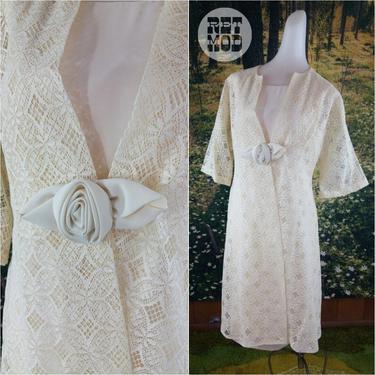 Vintage 60s Dainty Boho Cream Crochet Mod Pattern Wedding Dress / Party Dress! by RETMOD