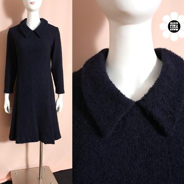 Lovely Vintage 60s 70 Dark Blue Textured Tweed Wool Mod Dress with Collar by RETMOD