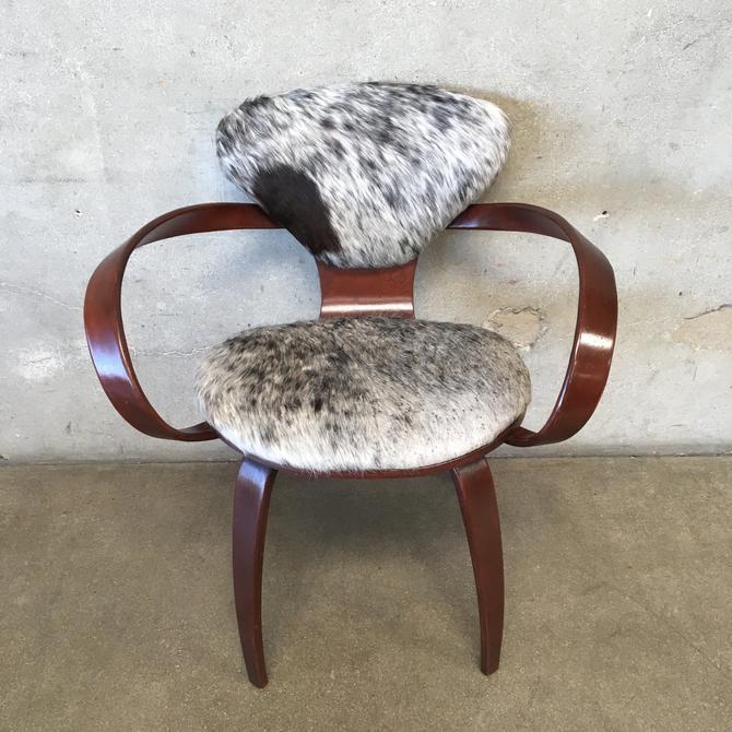 Mid Century Levinger Pretzel Chair with Cowhide by Goldman