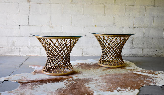 Mid Century Modern RATTAN + GLASS End TABLES / Side Tables by CIRCA60