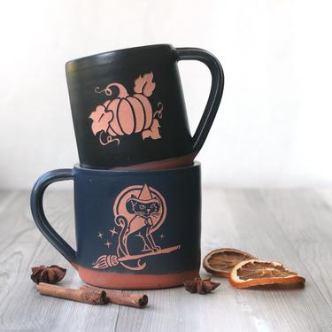 Halloween Pumpkin + Witch Cat Farmhouse Style Mug - spooky handmade pottery by BreadandBadger