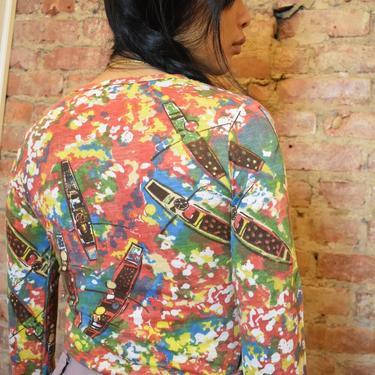 Printed Long Sleeve Knit Shirt