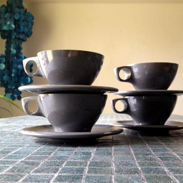 Boontonware TWO Cups (No saucers) Dinnerware Melamine Vintage Glamping set 1950s 1960s 50s 60s Charcoal Dark Gray by elliemayhems