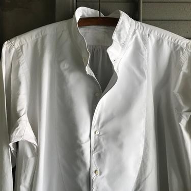 Antique French Mens Dress Shirt, Fine Quality White Cotton, Monogrammed Chemise, French Farmhouse by JansVintageStuff