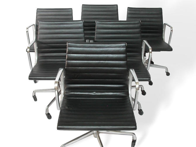 1 or 9 - 100% Original Herman Miller Aluminum Group Management Chairs by Charles and Ray Eames Black Leather, Arms + Casters by RetroSquad