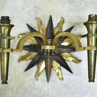 Gilbert Poillerat double-branch bronze sconce (#1657)