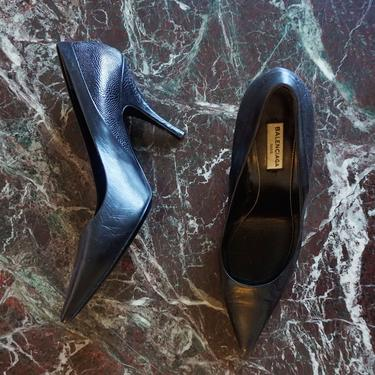 BALENCIAGA Vintage Croc Embossed Patchwork Black Leather Pumps Size 39 8.5 Heels Minimalist by backroomclothing