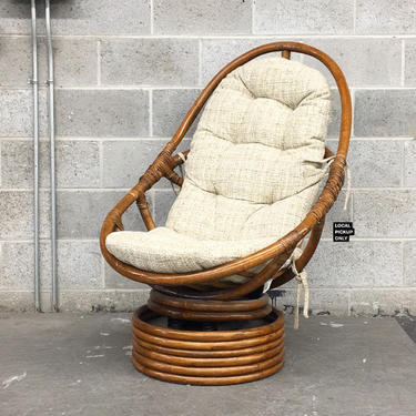 LOCAL PICKUP ONLY ———— Vintage Rattan Lounge Chair by RetrospectVintage215