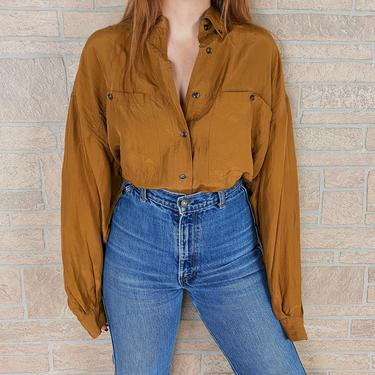 Oversized Pure Silk 90's Compagnie Internationale Express Ochre Blouse by NoteworthyGarments