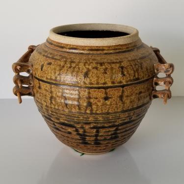 1980s Ken Jensen Art Pottery Vase With Rattan Handles. by MIAMIVINTAGEDECOR