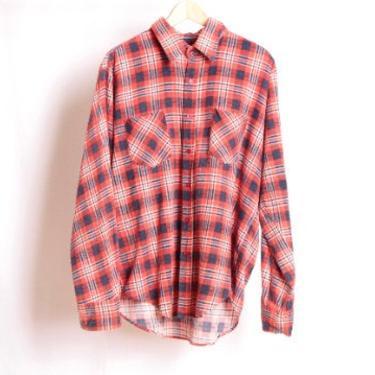 vintage FLANNEL nirvana kurt COBAIN 90s plaid flannel shirt size XL twin peaks style flannel by CairoVintage