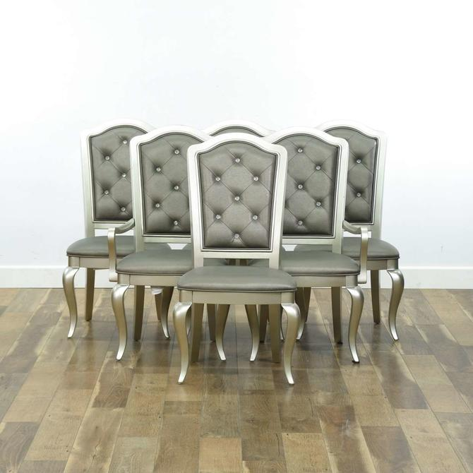 Set Of 6 Meridian Silver Finish Tufted Dining Chairs