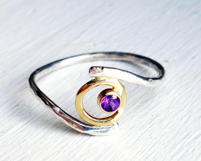 Amethyst 18k Yellow Gold with Amethyst and Sterling Silver Handmade // Energy //  Plasma Ball of Light Ring by RachelPfefferDesigns