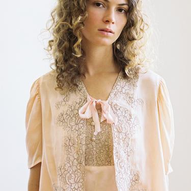 Antique 1930s silk and lace bed jacket blouse OOAK Art Deco by DevoreVintage