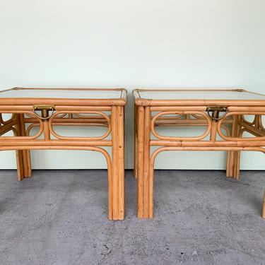 Pair of Coastal Rattan End Tables