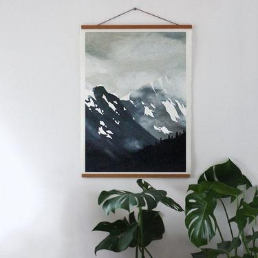 Landscape Art, Alaska Mountains, Kenai Peninsula, Seward, AK, Black and White Landscape, Simple Mountains, Hanging Art, Gift for Her by cedargrey
