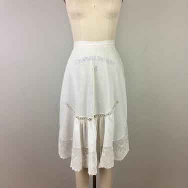 Vintage Antique Apron Victorian Edwardian White Cotton Voile and Lace by FlashbackATX
