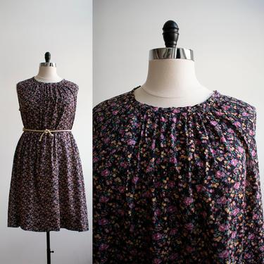 1970s Purple Floral Cotton Dress / Vintage 1970s Tent Dress / Vintage Plus Sized Vintage / Floral Tent Dress XL / Cotton Trapeze Dress by milkandice